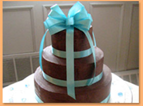 Chocolate 3Tier with Tiffany Blue Ribbon